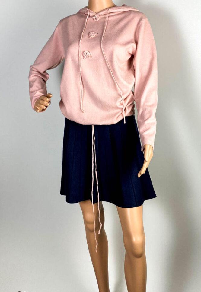 pulover roz glugă damă,