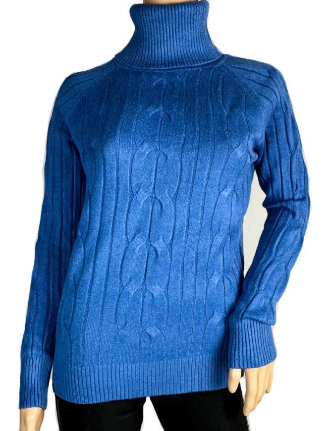pulover albastru pe gât damă,