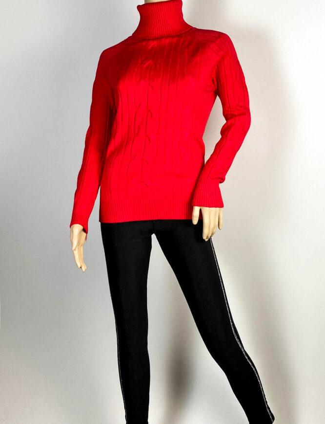 pulover roșu pe gât damă,