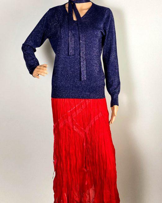 pulover bleumarin damă iarnă din tricot cu sclipici,
