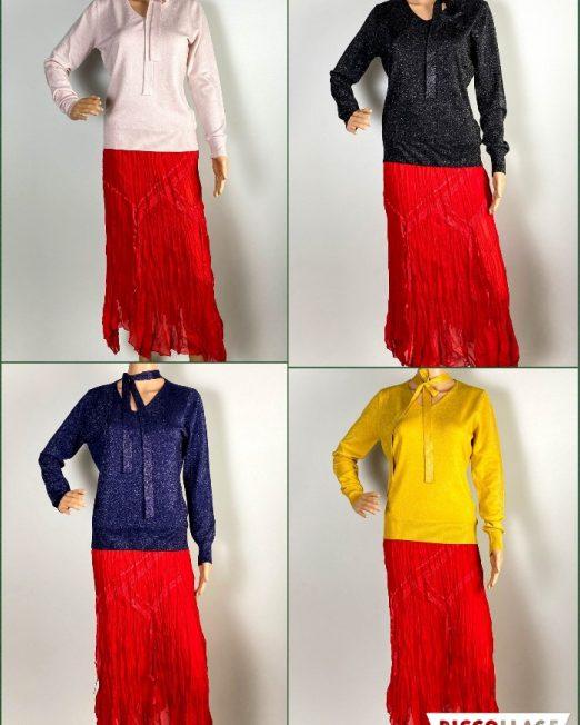 pulover damă iarnă din tricot cu sclipici,
