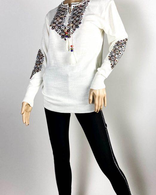 pulover alb motiv tradițional damă tricot,