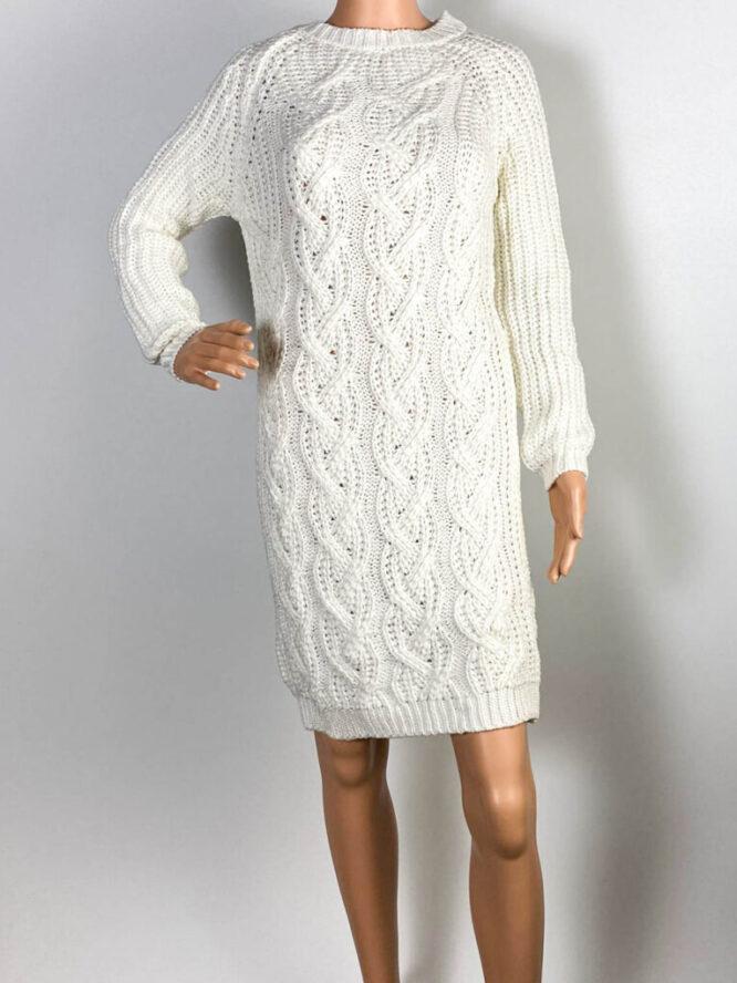 rochie albă damă iarnă din tricot,