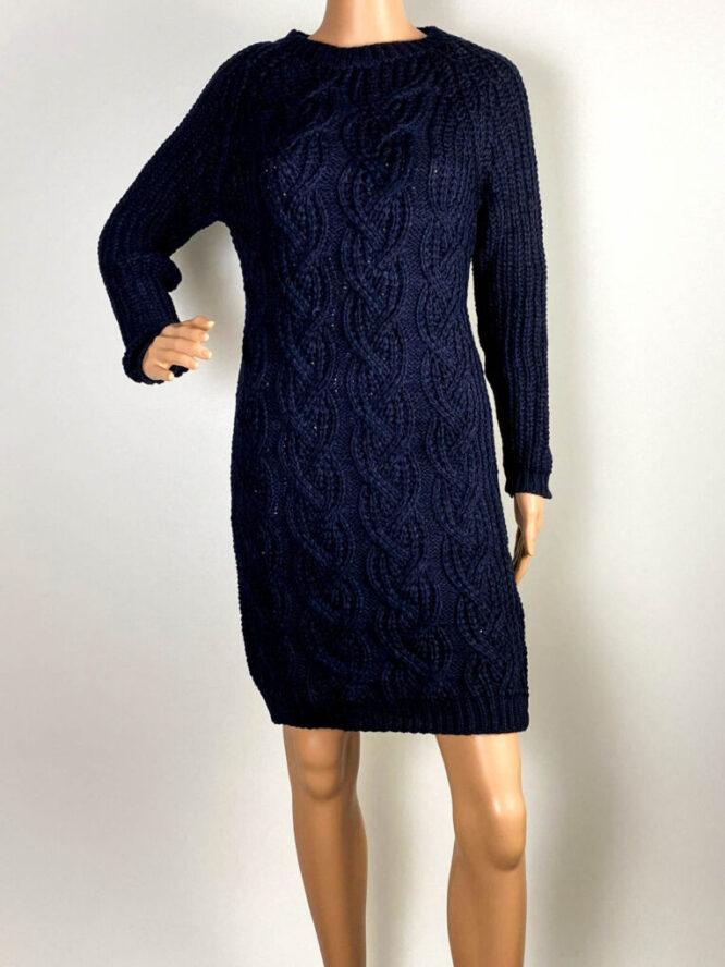 rochie bleumarin damă iarnă din tricot,
