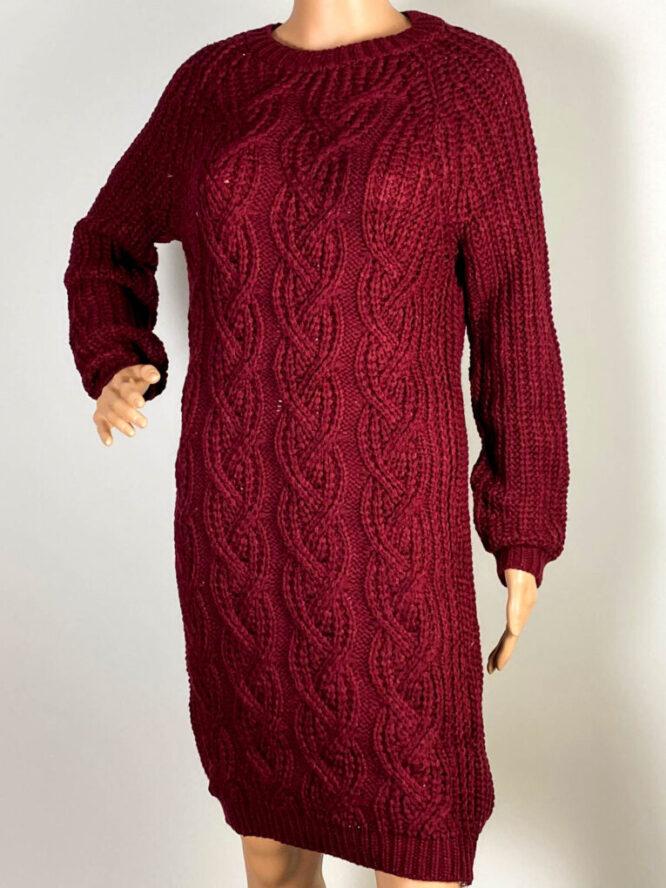 rochie bordo damă iarnă din tricot,