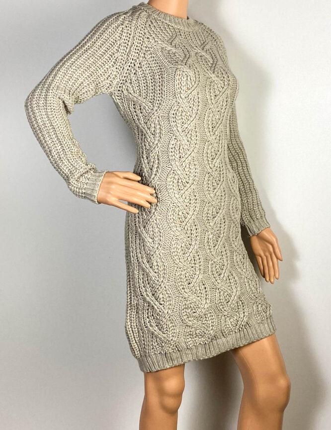 rochie gri damă iarnă din tricot,