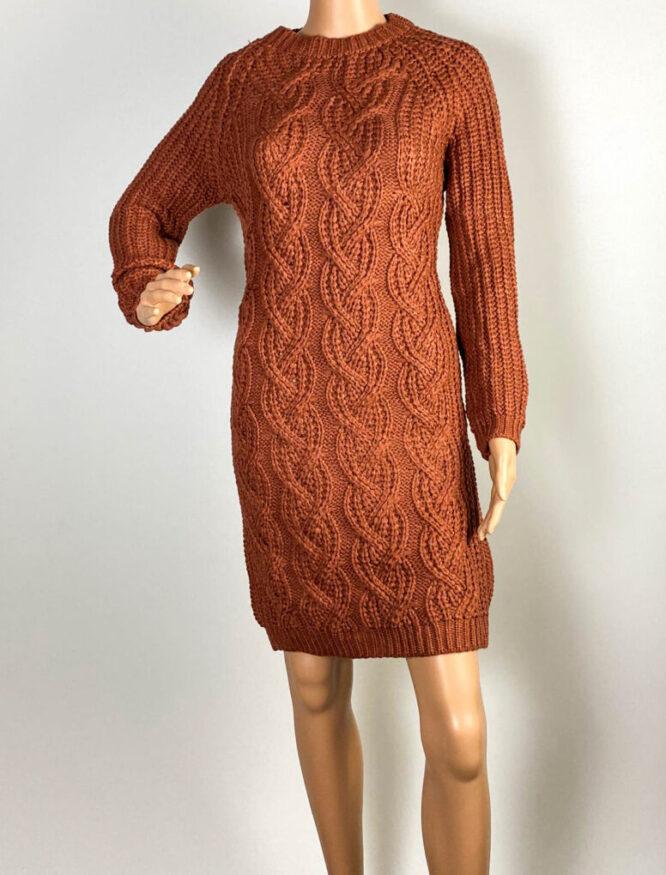rochie maro damă iarnă din tricot,