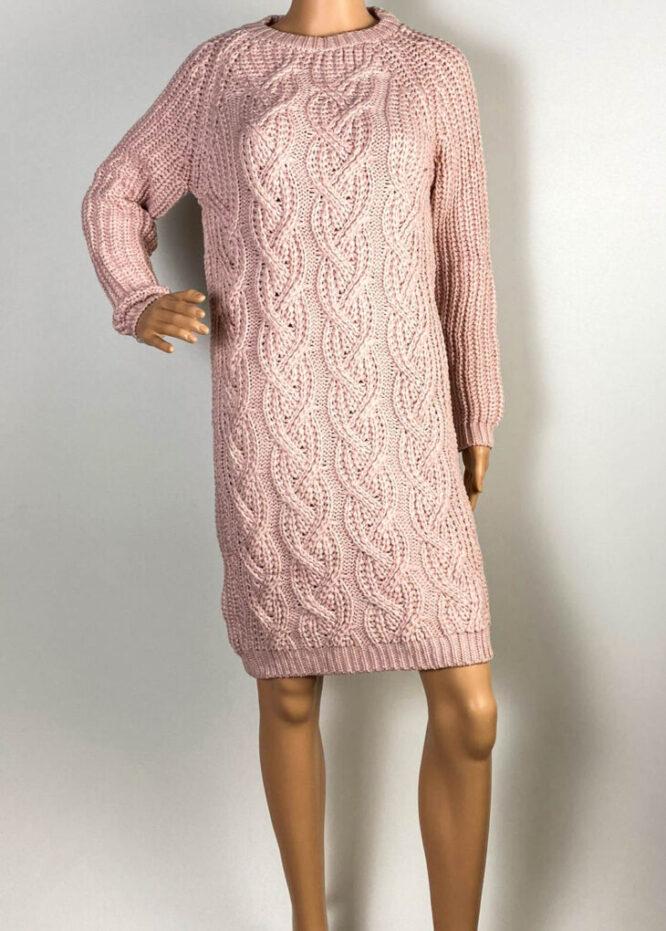 rochie roz damă iarnă din tricot,