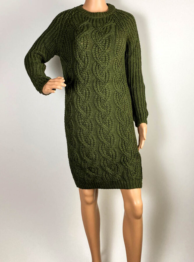 rochie verde damă iarnă din tricot,