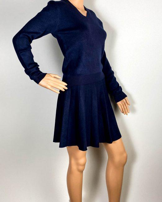 compleu bleumarin damă iarnă tricot fustă plisată,