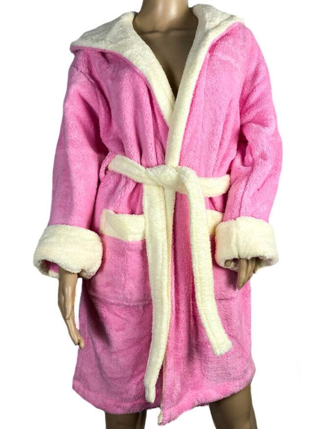 halat baie roz pufos cocolino damă,