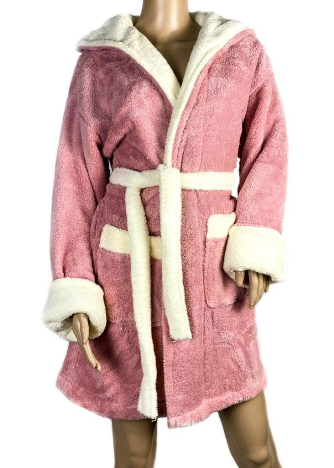 halat baie roz prăfuit pufos cocolino damă,