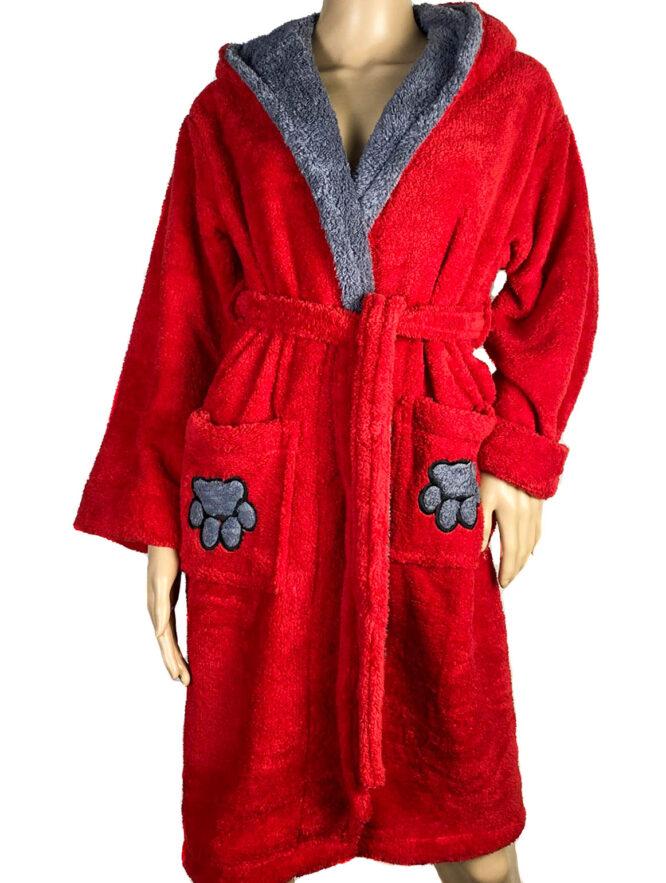 halat baie roșu pufos cu glugă pisică,