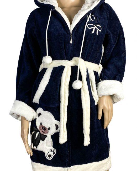 halat baie bleumarin pufos cu glugă și ursuleț damă,