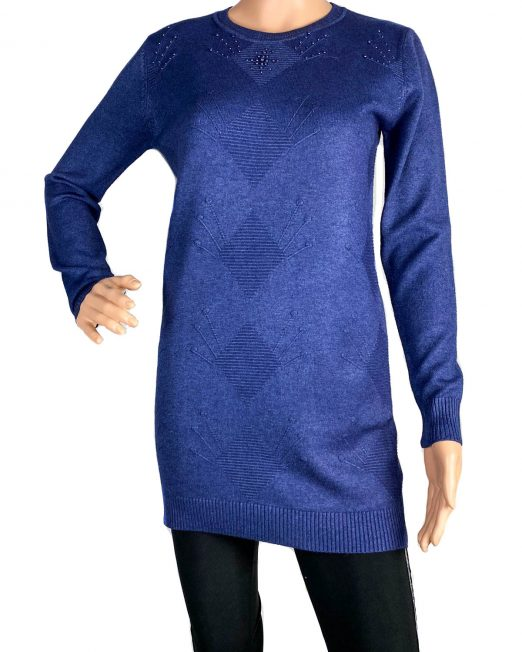 pulover bleumarin tricotat damă,