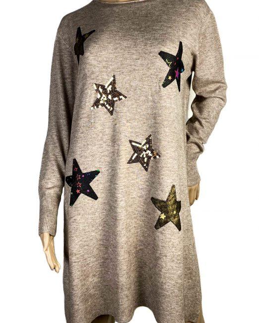 rochie beige largă cu stele damă,