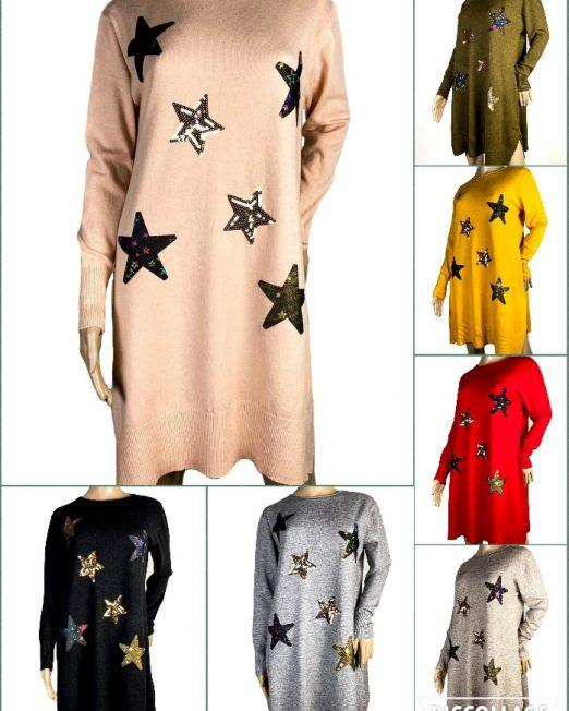 rochie largă cu stele damă,