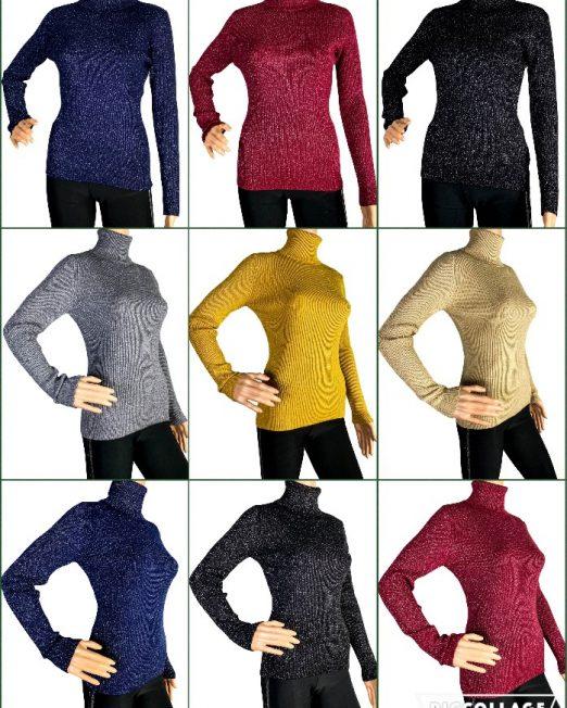 pulover pe gât cu sclipici damă,