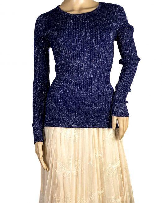 pulover bleumarin cu sclipici fin damă,