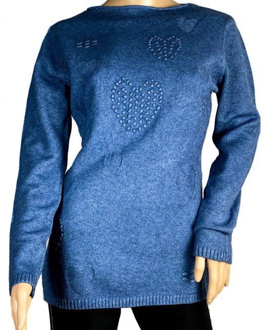 pulover albastru tricotat damă,