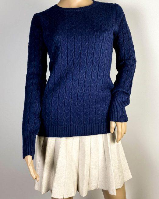 pulover bleumarin tricotat damă iarnă,