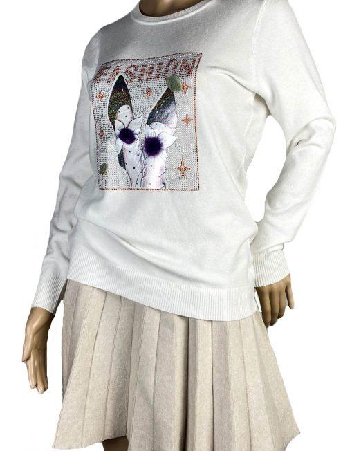 pulover alb din tricot fin cu pietre damă,