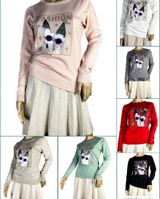 pulover din tricot fin cu pietre damă,