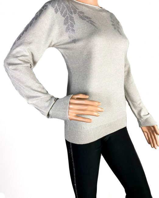 pulover beige fin cu sclipici damă,