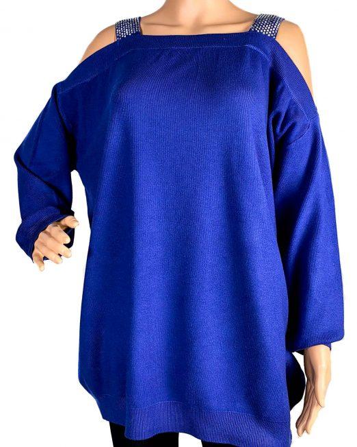 pulover albastru cu umărul gol damă,