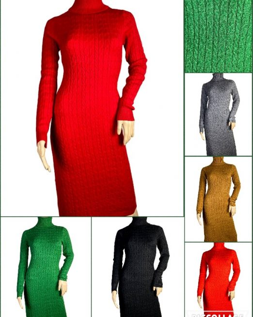 rochie tricotată cu guler înalt damă,
