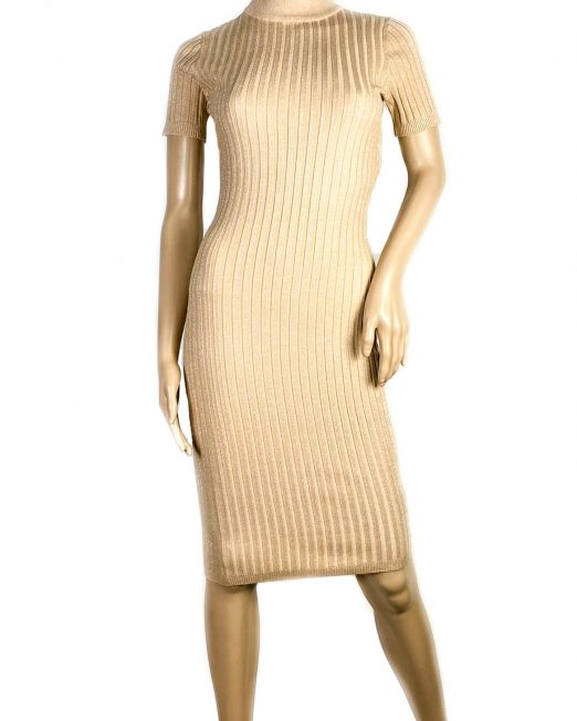 rochie beige mânecă scurtă cu sclipici fin damă,