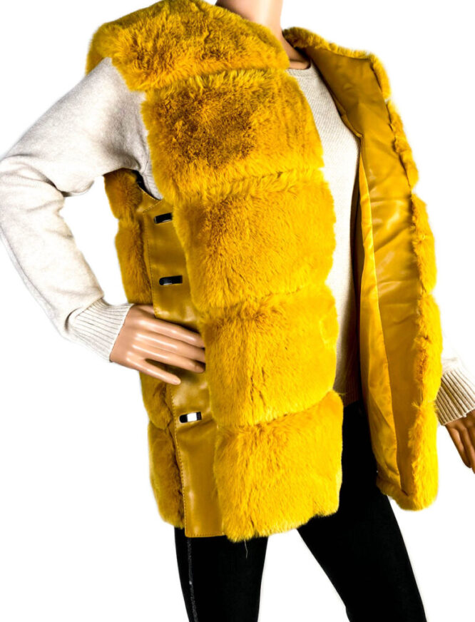 vestă galbenă blană ecologică damă,