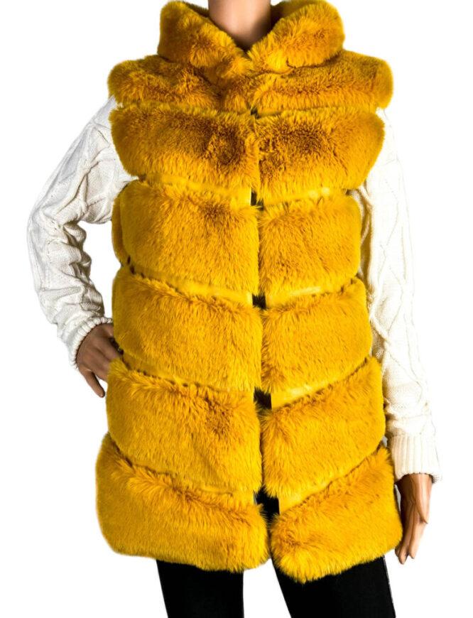 vestă blană damă galbenă cu glugă,