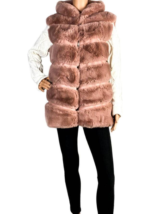 vestă blană damă roz prăfuit cu glugă,
