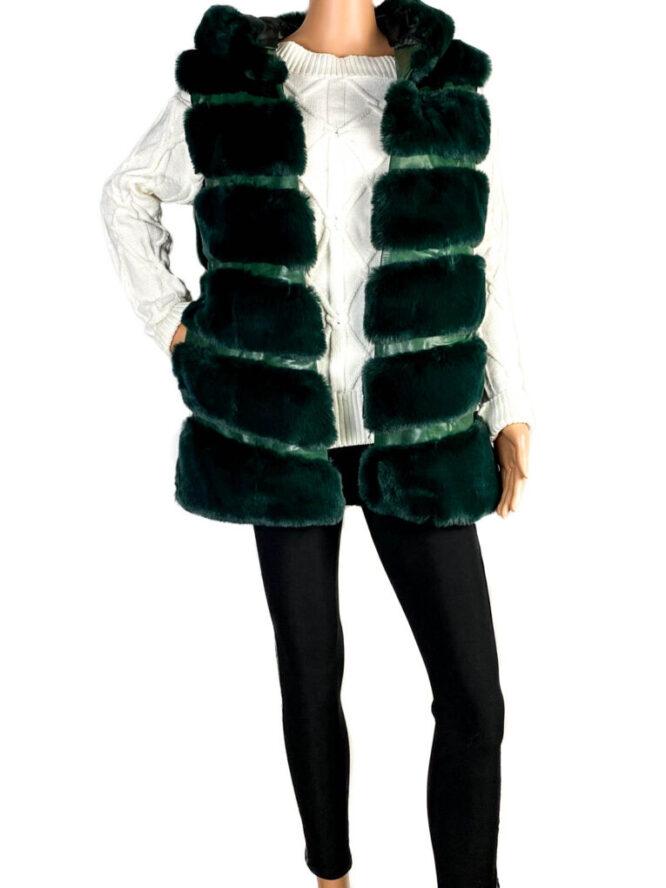 vestă blană damă verde cu glugă,
