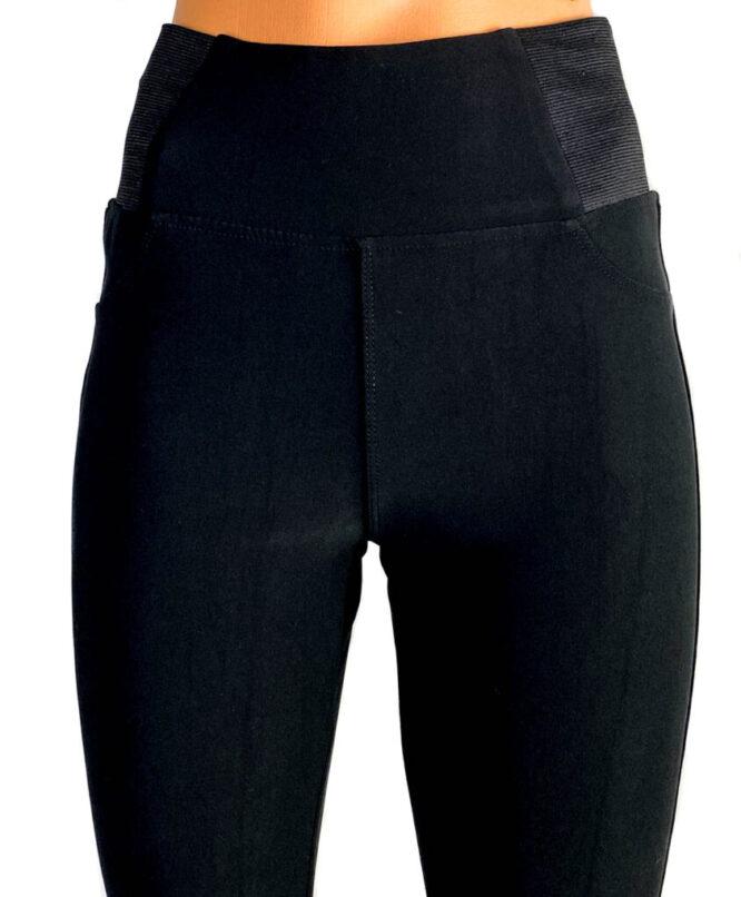 Pantaloni negri elastici cu talie înaltă damă,