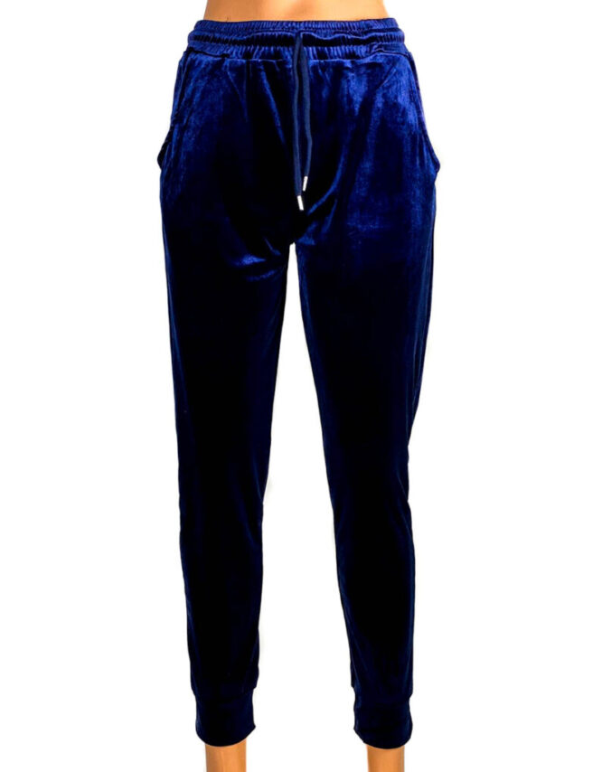 pantaloni din catifea elastică albastră damă,