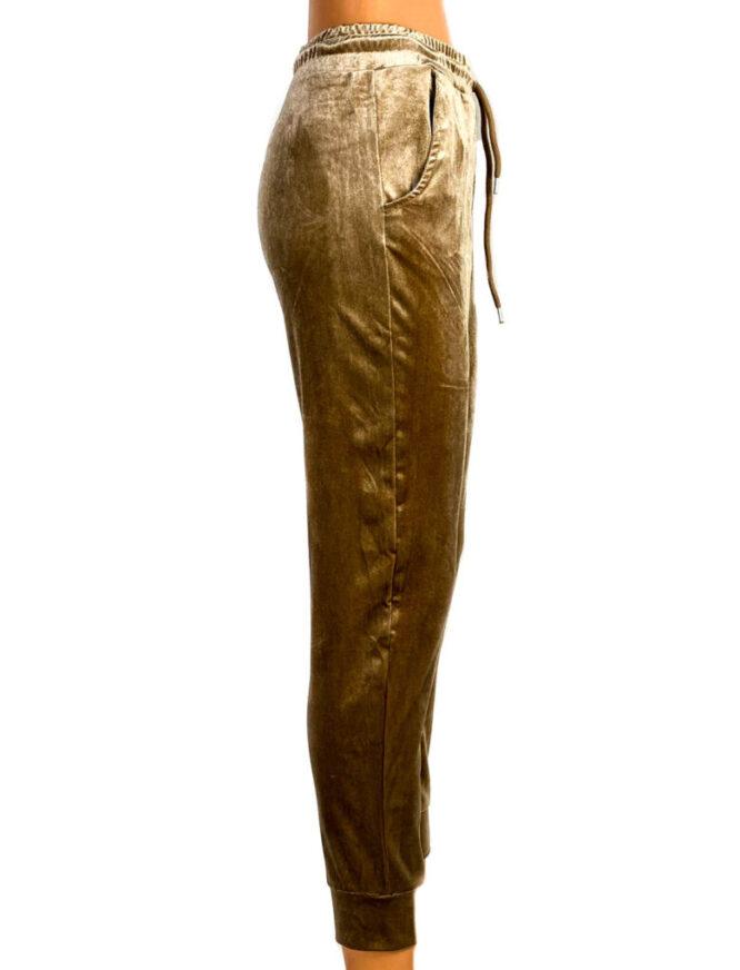 pantaloni din catifea elastică beige damă,