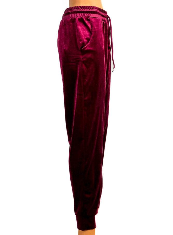 pantaloni din catifea elastică bordo damă,