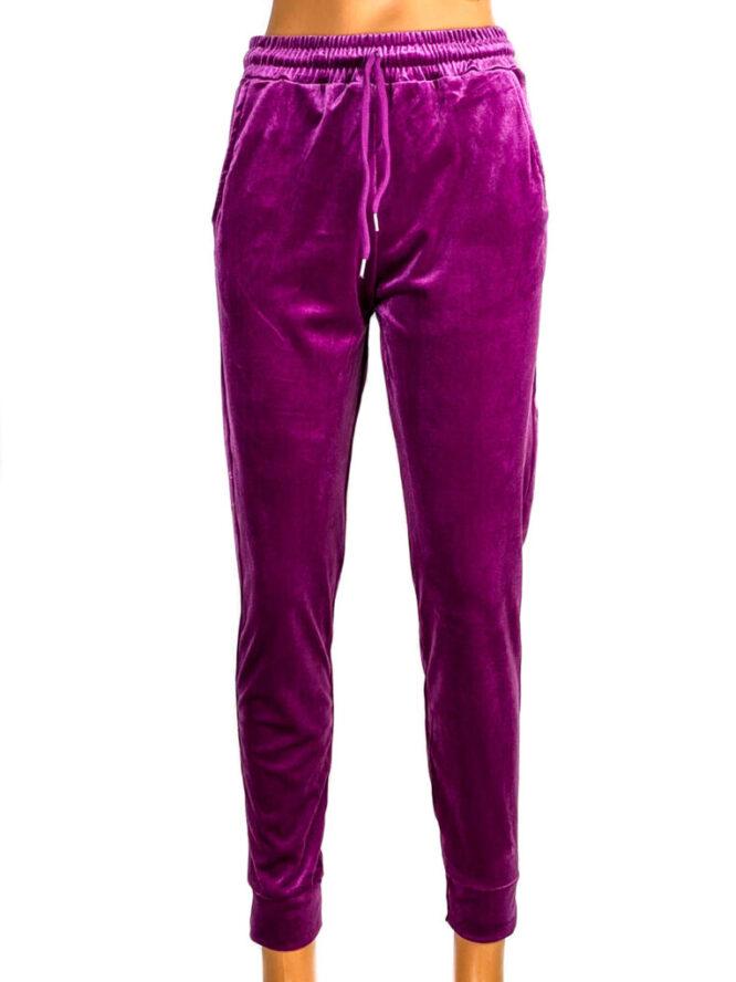 pantaloni din catifea elastică ciclame damă,