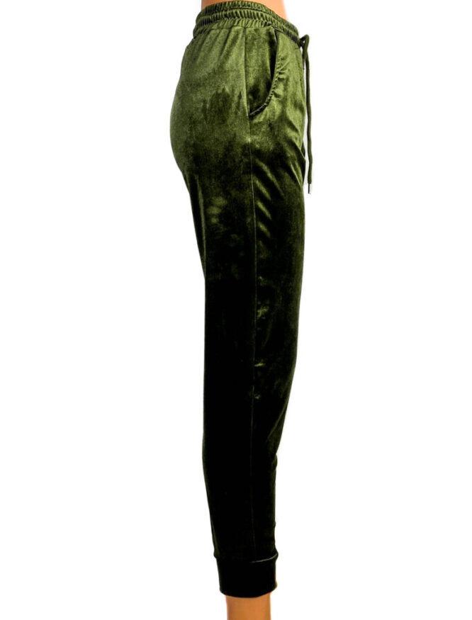 pantaloni din catifea elastică kaki damă,