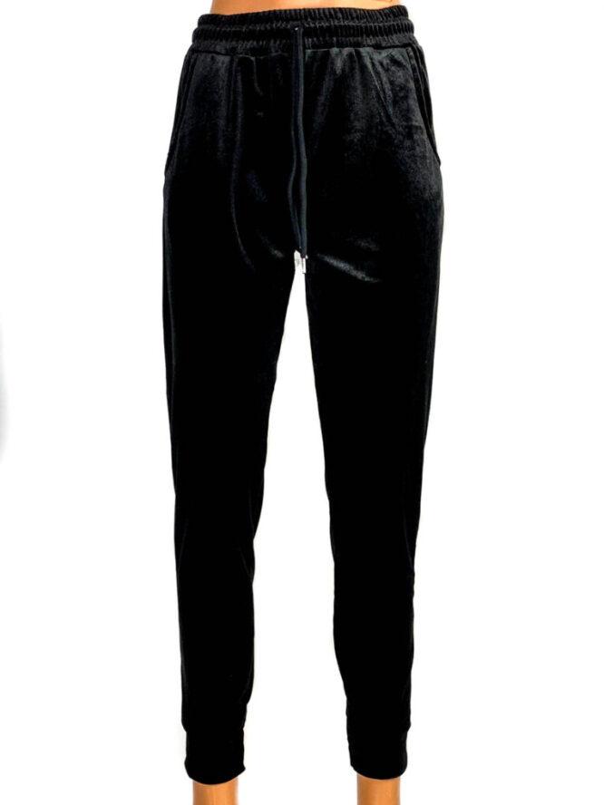 pantaloni din catifea elastică neagră damă,