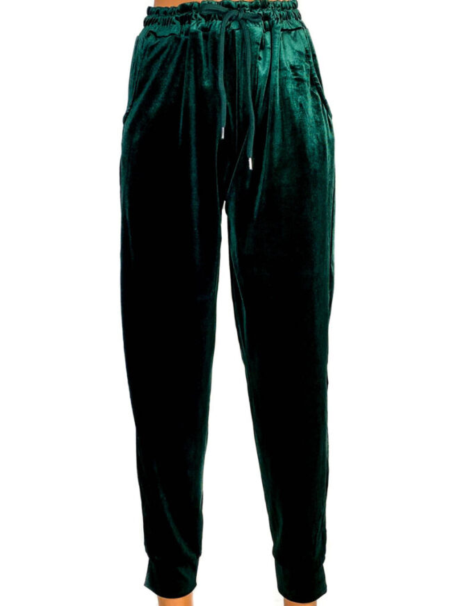 pantaloni din catifea elastică verde damă,