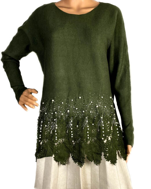 pulover verde cu perle și dantelă damă,