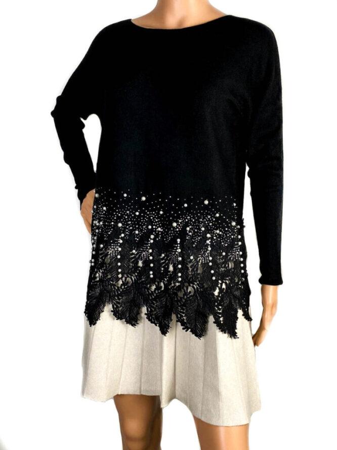 pulover negru cu perle și dantelă damă,