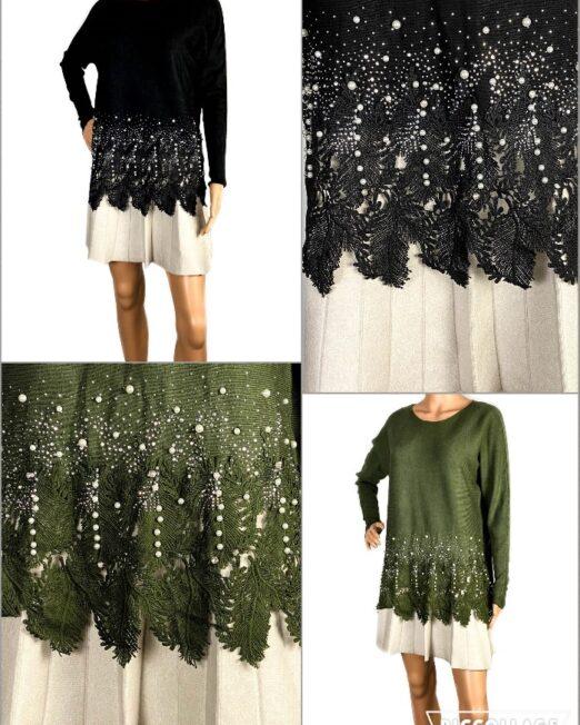 pulover cu perle și dantelă damă,