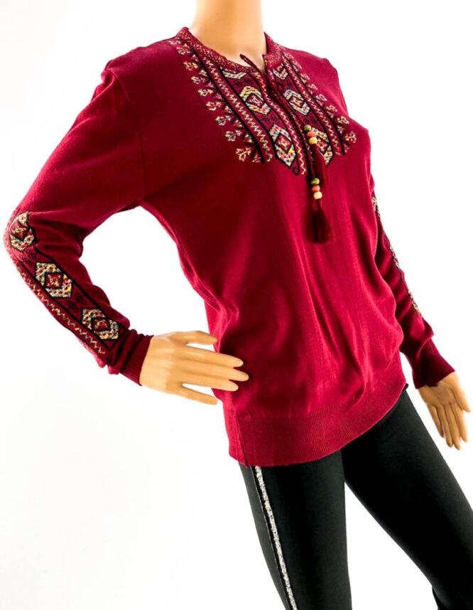 pulover bordo motiv tradițional damă,