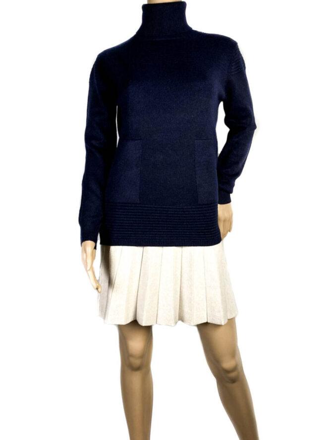pulover bleumarin pe gât cu buzunare damă,