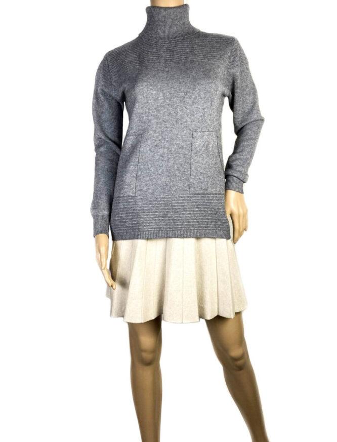 pulover gri pe gât cu buzunare damă,