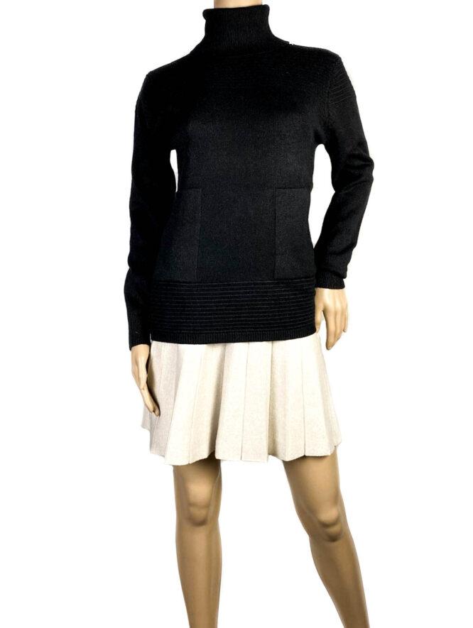 pulover negru pe gât cu buzunare damă,